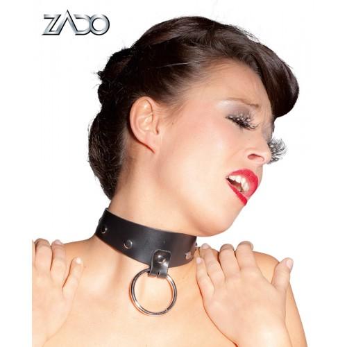 Halsband I Läder Med Ring - Svart