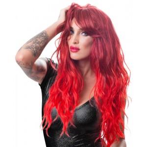 Wigged Love - Peruk Med Rött Långt Hår - Vågigt