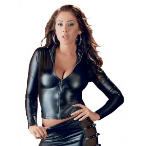 Leather-look Long Sleeve Zip Top - Small
